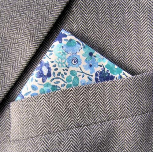 SUPERNOVA Aqua Blue Floral Pocket Square Handkerchief Liberty Fabric 60s