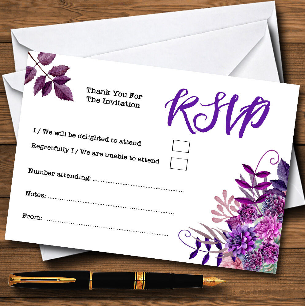 Cadbury cartes violet aquarelle florals personnalisé rsvp cartes Cadbury c2e051