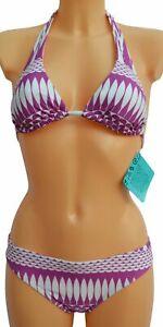 Purple-abstract-holiday-swimming-bikini-set-top-amp-bottoms-Size-8-10-12-14-NEW