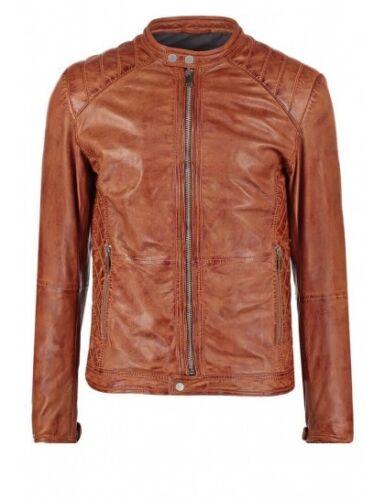 FL130 Men/'s Biker Vintage Motorcycle Slim fit Brown Distressed Leather Jacket