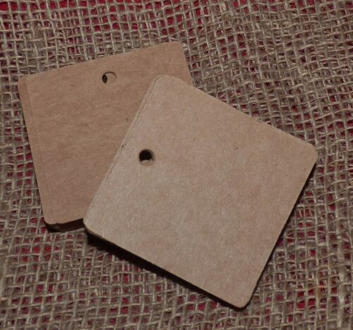 KRAFT BROWN or WHITE 60mm SQUARE PAPER TAG LABEL BLANKS #CRAFTS