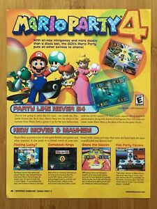 Mario Party 4 Gamecube 2002 Print Ad/Poster Page Original Official Promo Pop Art