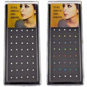 40-PC-CASE-20G-CZ-NOSE-STUD-BONE-RING-PIN-CLEAR-ASSORTED-GEM-COLOR-WHOLESALE-BOX