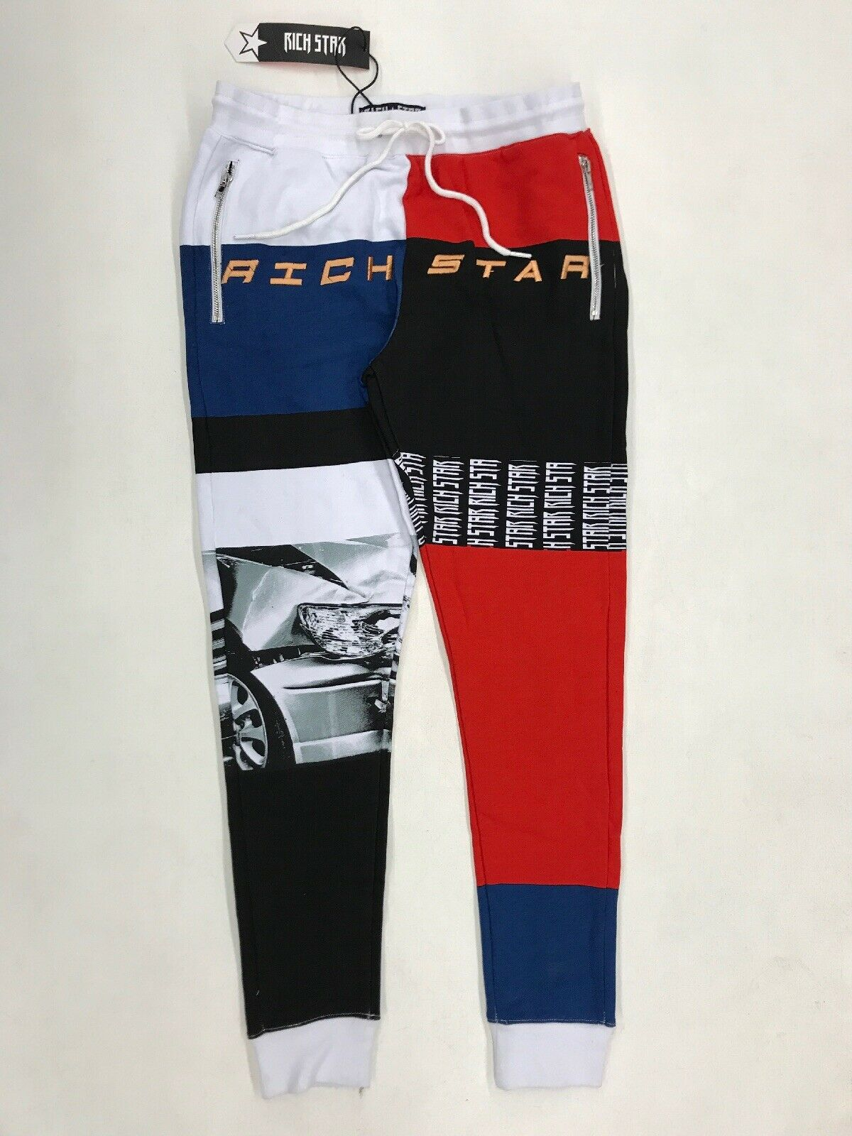 Rich Star Multi Panel Skull Pant Mens Sample Large Nice New Rare Embroidered