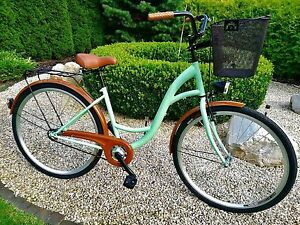 28-034-City-Bike-Ladies-Town-Hybrid-Dutch-Vintage-Women-Cycle-3Gears-Basket-NOLOGO