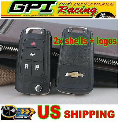 2X Flip Key Shell fit for CHEVROLET Remote Key Case Fob Replacement 4 Button