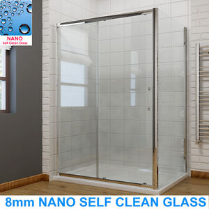 Shower-Enclosure-Sliding-Door-Cubicle-Side-Panel-and-Tray-amp-Waste-8mm-NANO-Glass