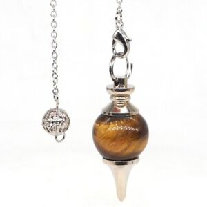 Natural-Gems-Yellow-Tiger-Eye-Round-Pendulum-Healing-Crystal-Reiki-Dowsing-Tool