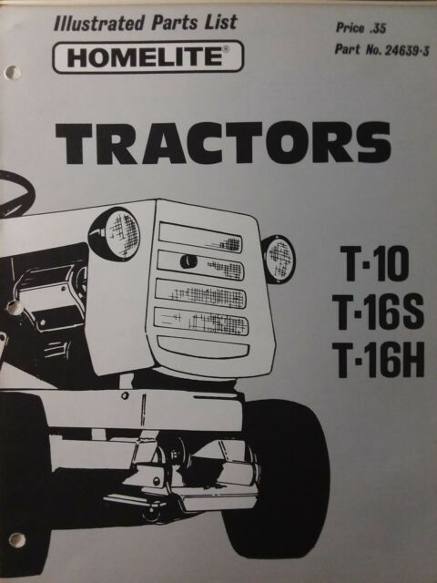 Homelite Lawn Garden Tractor T-10 T-16S T-16H Parts Manual Simplicity  Riding h p