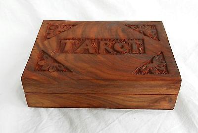 Hand Carved Wooden Tarot Card Storage Box - Wooden Lidded Box - BNIB