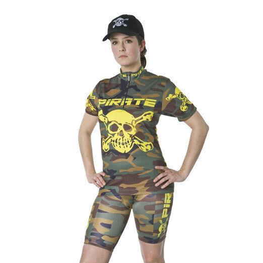 Pirate Skins Camo mit Trägern, Fahrradhose, Skull, Pirat, Gothic,