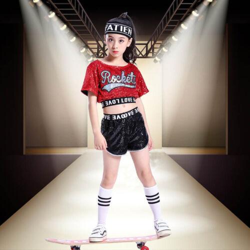 Street Dancewear Girls Sequins Costume Jazz Hip-Hop Kid Dance Performance Party