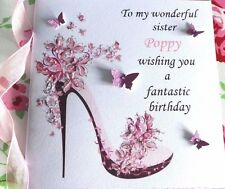 PERSONALISED  HANDMADE BIRTHDAY CARD  18TH 21ST 40th DAUGHTER SISTER FRIEND ECT