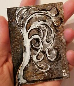 Original-Acrylic-on-canvas-ACEO-Miniature-tree-painting-Tree-painting