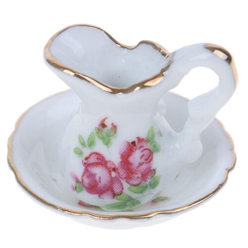 1:12 Dollhouse Miniature White Ceramic Mini Kettle+Basin Furniture Accessories