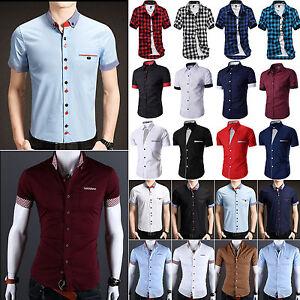 Hommes-Chemise-manche-courte-fine-boutonne-Robe-habille-decontracte-T-shirt-Haut
