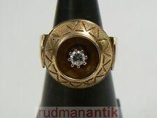 ART DECO RING GOLD 585 mit GRANULAT und BRILLANT - STIL TRESKOW um 1930