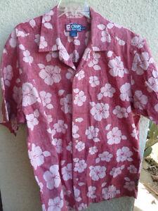 Chaps-Hawaiian-Shirt-Reverse-Print-Red-amp-Peach-All-Cotton-L
