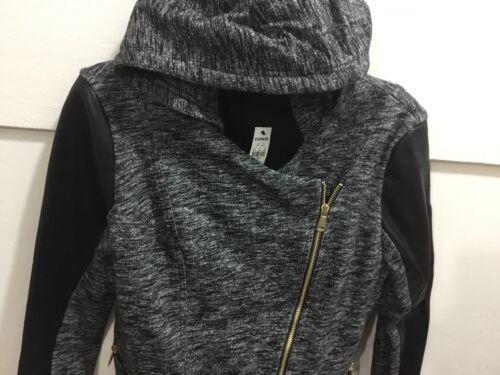 J New Size capuche Express manches Ladies en comme étiquettes avec des Large cuir garnies pO4tq