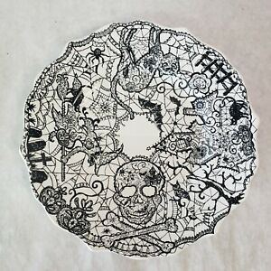 222 Fifth Halloween Black And White Wiccan Lace 9 Quot Plate