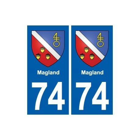 74 Magland blason autocollant plaque stickers ville -  Angles : droits