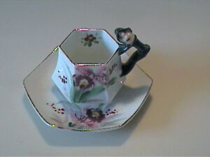 VINTAGE 1950'S CHINA FLORAL CUP & SAUCER WITH ELF OR PIXIE HANDLE - JAPAN