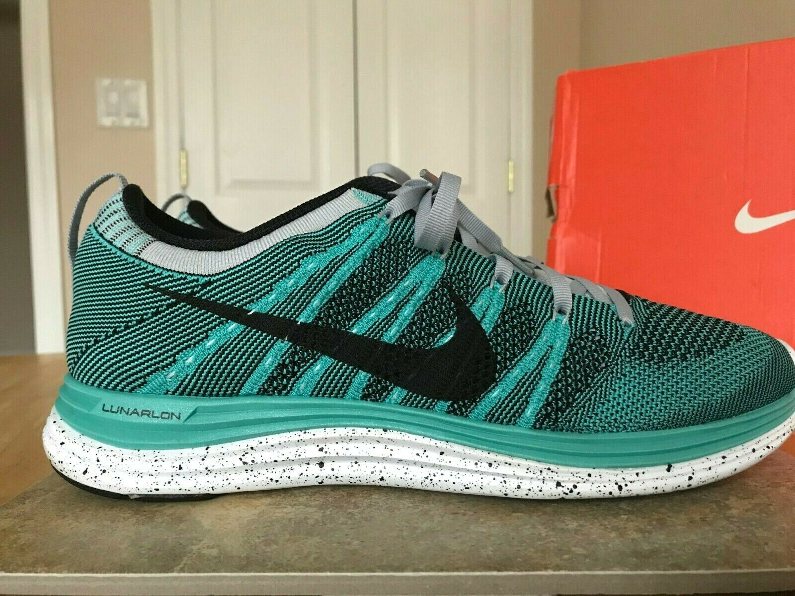 NIKE 2012 FLYKNIT ONE + MEN'S SHOES 554887 301 SIZE 10 TURQUOISE WOLF GREY BLACK