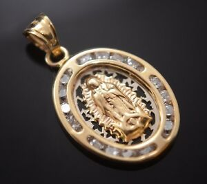 New Virgen Guadalupe Medalla Oro Real 14k Gold Virgin Pendant Religious Charm