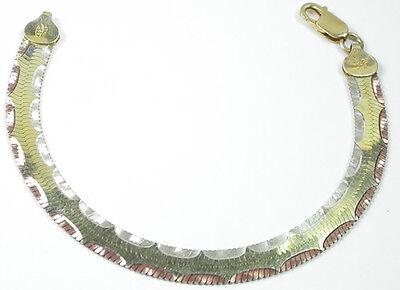 Bracelet Italian Tricolor Rose Gold Sterling Silver Vermeil & Scallops Wedding