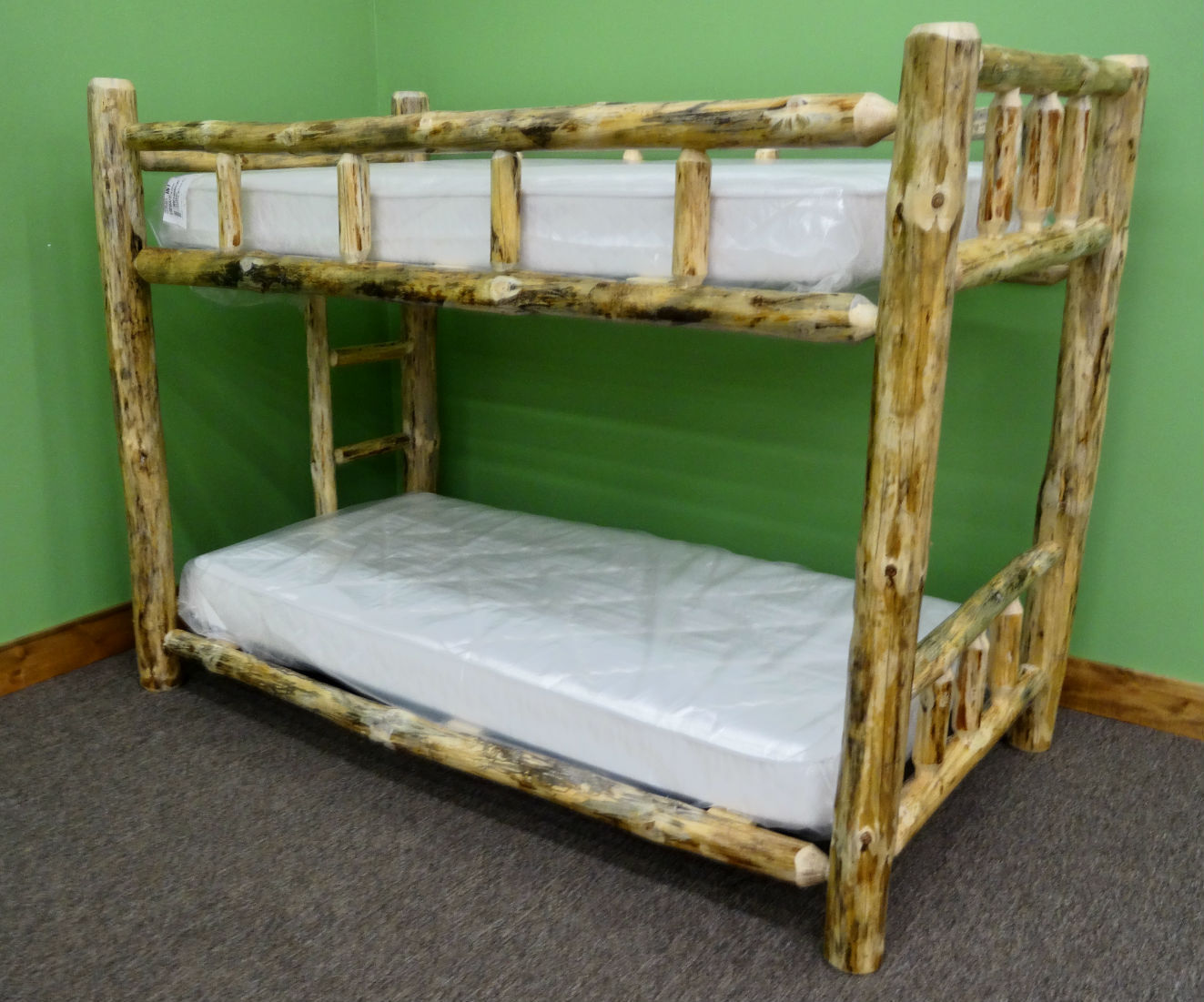 Picture of: Rustic Log Bunk Bed Queen Over Queen 1099 00 Free Shipping For Sale Online