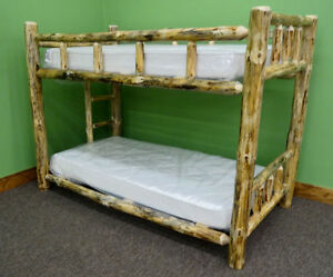 Rustic Log Bunk Bed - Twin XL Over Twin XL $849.00 - Free Shipping