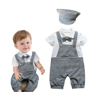 Baby-Boy-Wedding-Christening-Formal-Party-Tuxedo-Check-Suit-Outfit-Hat-Set-3-18M