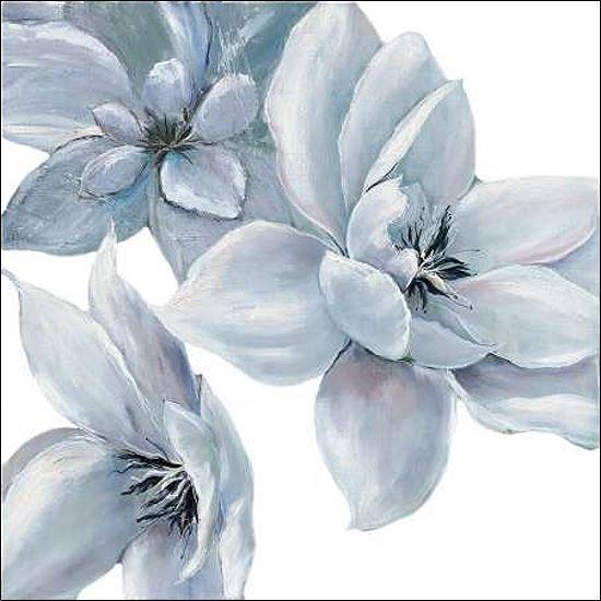 Rian Withaar  Blau Satin I Keilrahmen-Bild Leinwand Blüten blau modern Landhaus
