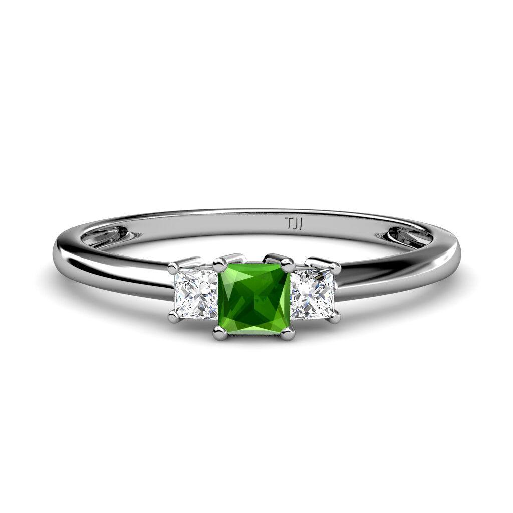Green Garnet & Diamond Princess Cut 3 Stone Ring 0.38 ct tw in 14K gold JP 12163
