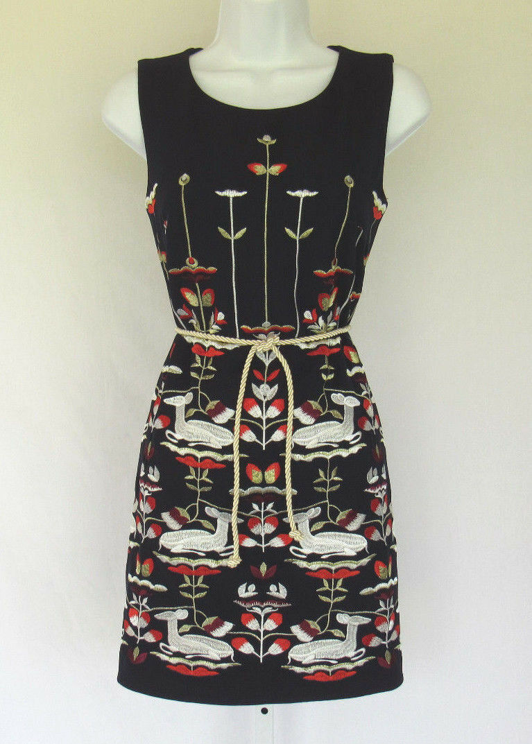 EWHEAT SILK POLY BLEND EMBROIDERED DEER FLOWERS DRESS SIZE SMALL LINED BELT