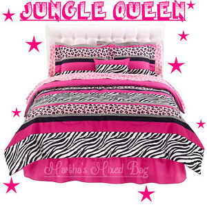 Pink Black ZEBRA Stripe Teen Girls Chic Bedding Comforter Set+2-VALANCES+PiILLOW