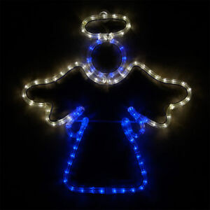 Led christmas angel blue white rope light outdoor decoration lighted image is loading led christmas angel blue white rope light outdoor aloadofball Gallery