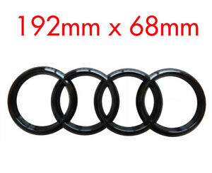 BLACK-AUDI-RINGS-REAR-BACK-LOGO-EMBLEM-BADGE-A3-A4-A5-A6-SLINE-192mm-x-68mm