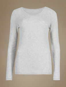 M /& S COLLECTION LADIES 2 PACK THERMAL LONG SLEEVE POINTELLE GREY MARL VEST