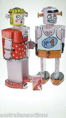 2LARGE TIN TOY ROBOT 'BELLA &  BOXING FIGHTING ATOMIC SODA  30cm FRENCH LITHO