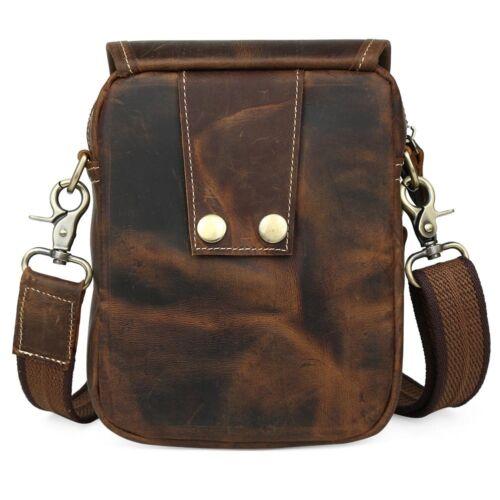 TIDING Men/'s Genuine Leather Shoulder Messenger Bag Fanny Waist Packs Zip Pouch