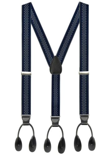 Y-Back Adjustable Leath Hold'Em 1 ¼ Fancy Stripes and Solid Suspenders for Men