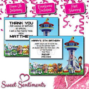 Detalles De Paw Patrol Niños Personalizado Invitaciones Fiesta De Cumpleaños Tarjetas De Agradecimiento Ver Título Original