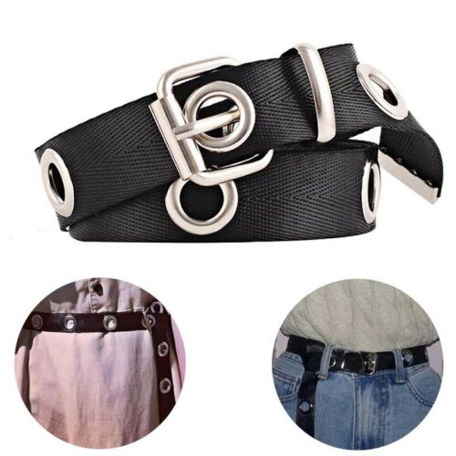 Women Ladys Canvas Belt Big Hole Canvas Long Casual Belt Waist Belt Cummerbund