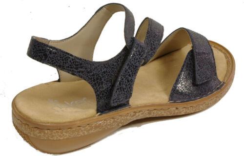 RIEKER Schuhe Sandalen Riemchen Sandaletten blau Klettverschluss NEU