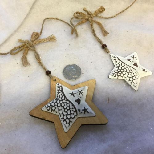 Bois//Métal étoile cœur arbre de Noël Guirlande Vintage Chic Shabby Décoration Faisceau