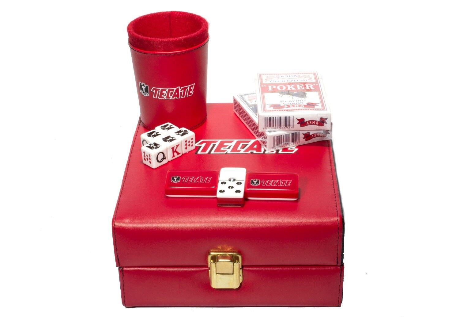 Tecate Beer Deluxe Set 3 spel  Domino, Dice Cup, 2 Poker bilds