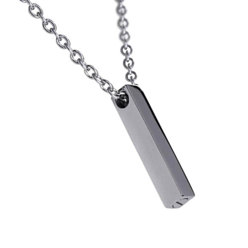 Cremation Urn Necklace Stainless Steel Rectangle Pendant for Ashes Memorial