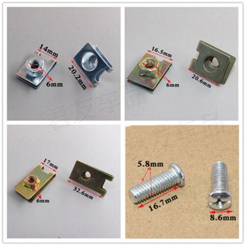 100Pcs Car Door Panel Fastener Fixed Screw U Type Gasket Clips Moulding Trim