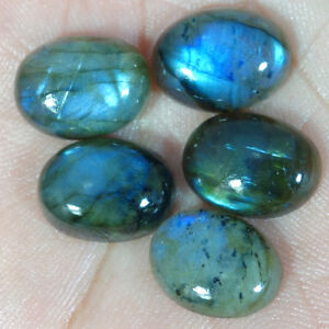 100-Natural-Labradorite-Oval-cabochon-Loose-Gemstone-5-Pcs-Lot-12X16-MM-size